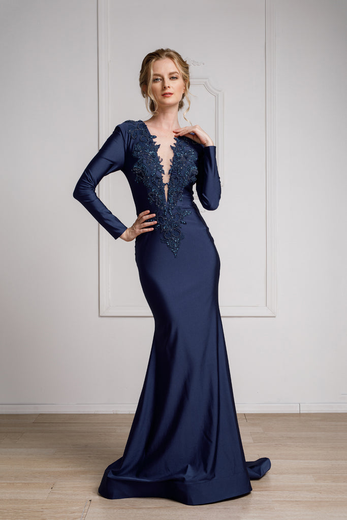 Long Sleeves Satin  V-Neckline Amelia Navy Evening Gown AC382