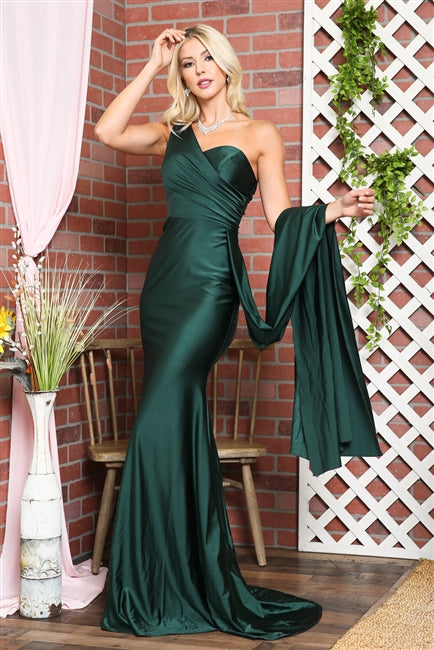One-Shoulder Satin Fitted Burgundy Evening Dress AC387