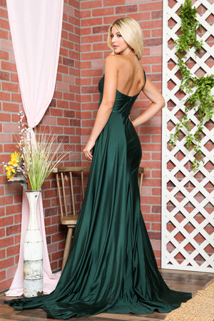 One-Shoulder Satin Fitted Green Evening Dress AC387