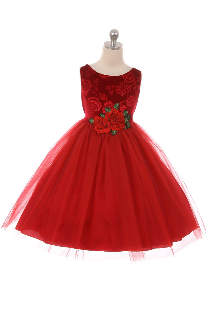 Holiday Velvet Girl Dress with Rose Patch