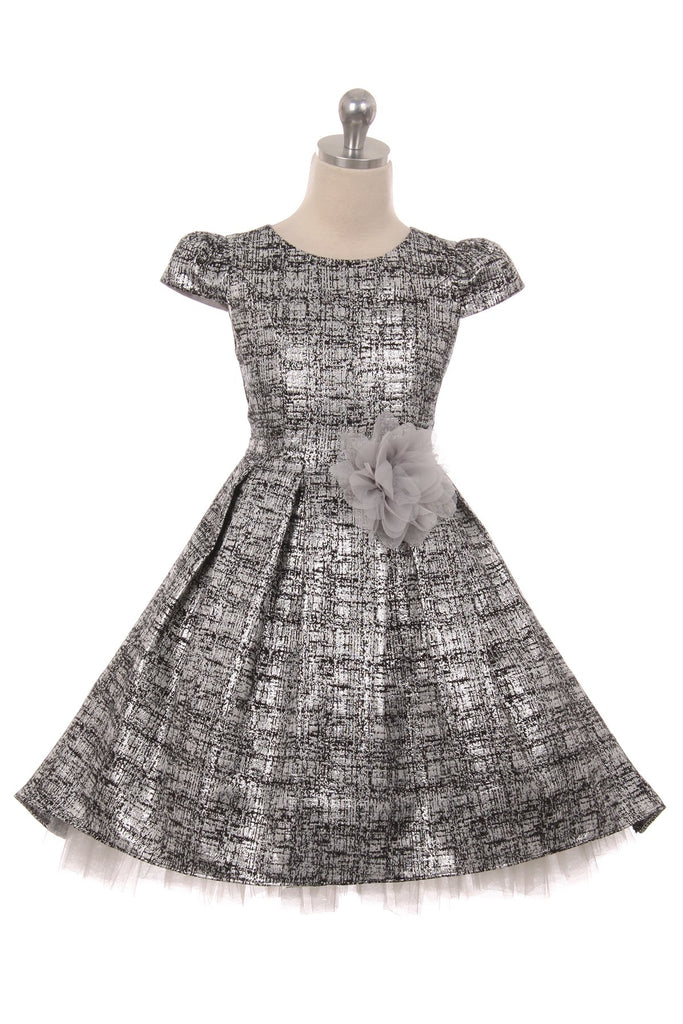 Elegant Tulle High Low Girl Dress-Metallic Tweed