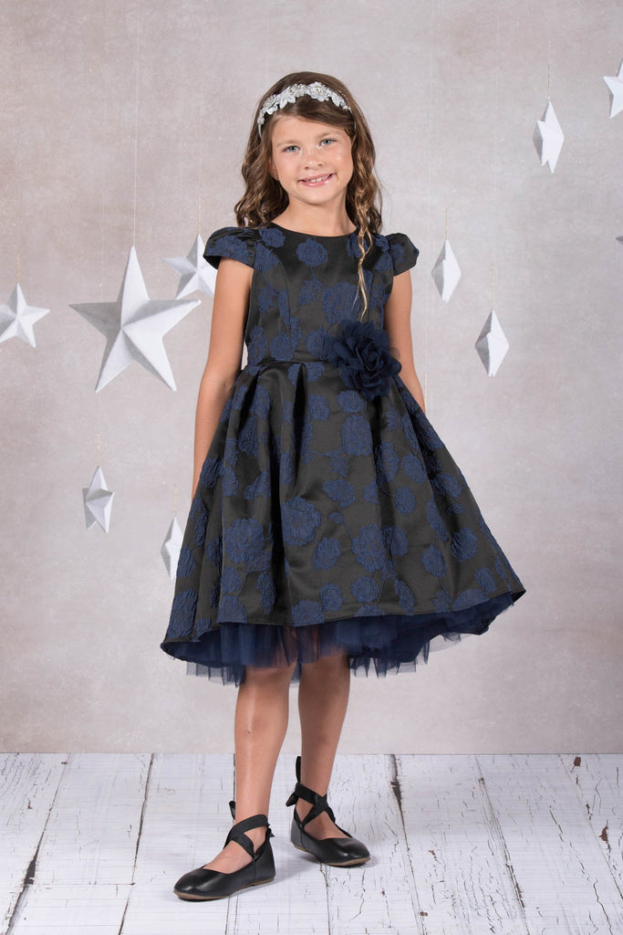 Jacquard High Low Holiday Dress