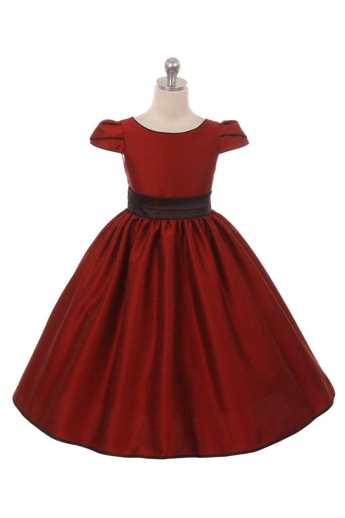 Holiday Classic Satin Dress With Sleeves