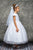 Chandelier Trim Cap Sleeves Satin First Communion Dress 460