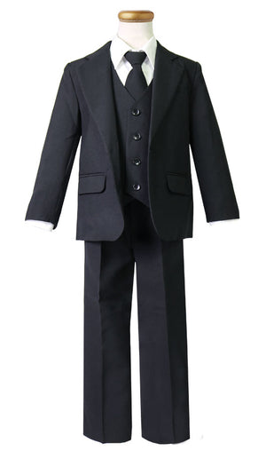 Baby Boy's 5 pieces 2 button Suit for Christening or Ringer Bearer Black, Ivory, White