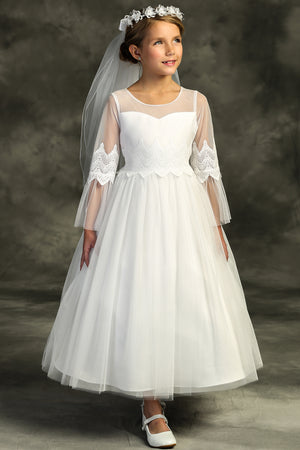 Embroidery Mesh Ruffle Sleeve Communion Gown 508