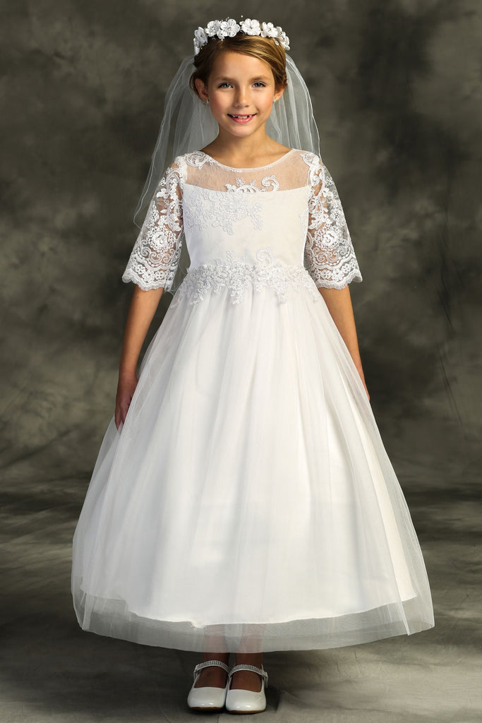 Half Sleeve Cording Lace Waterfall First Communion Dress 510