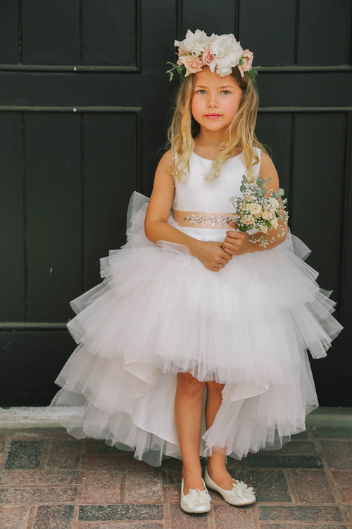 19a3b4f33fb8 Ruffled Tulle High-Low Flower Girl Dress 5658 – Sparkly Gowns