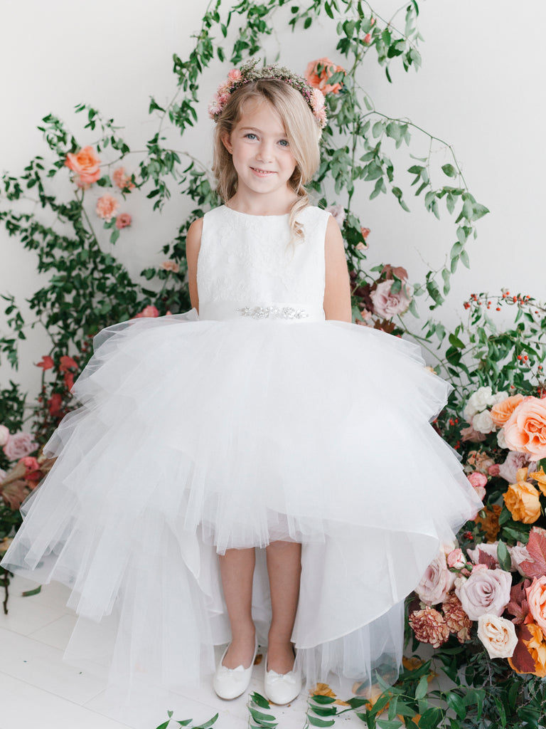 High Low with Lace Bodice and removable Beaded Sash Flower Girl Dress