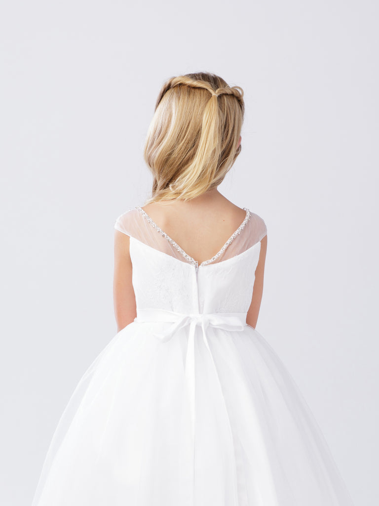 Illusion Neckline with Lace Bodice Communion or Flower Girl Dress