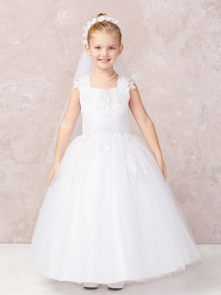 Heirloom Satin with Lace Applique Bodice and Tulle Skirt Communion Dress