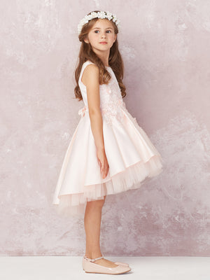 High Low Mikado Lace Appliques Flower Girl Dress 5760