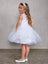 Sleeveless  Illusion Neckline Short Champagne Flower Girl Dress Tip Top 5800