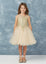 Short Flower Girl Dress with Gold Lace 7013BU