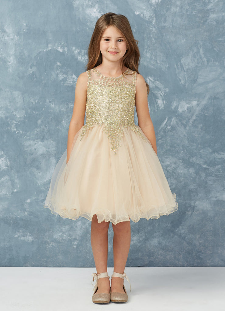 Short Flower Girl Dress with Gold Lace 7013CH