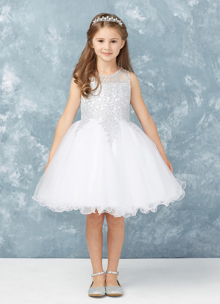 Short Flower Girl Dress with Gold Lace 7013wh
