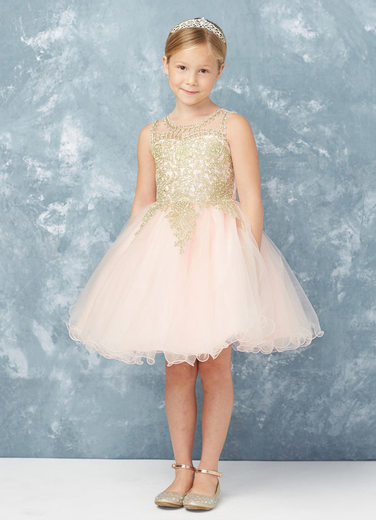 Short Flower Girl Dress with Gold Lace 7013IV