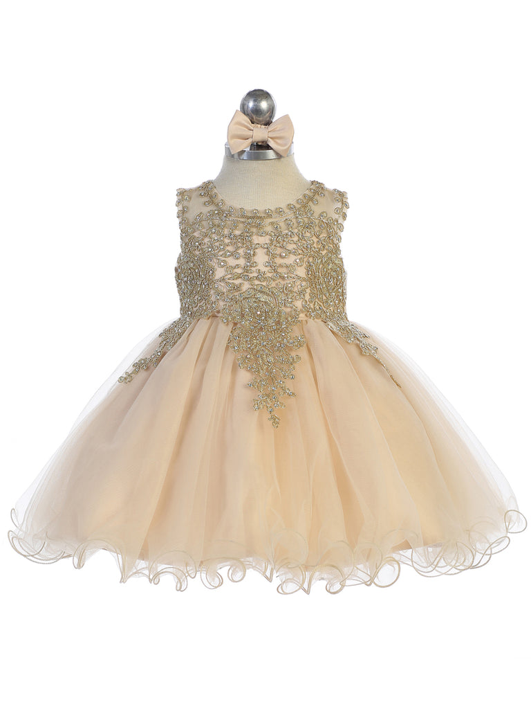 Baby Short Flower Girl Dress with Gold Lace 7013B
