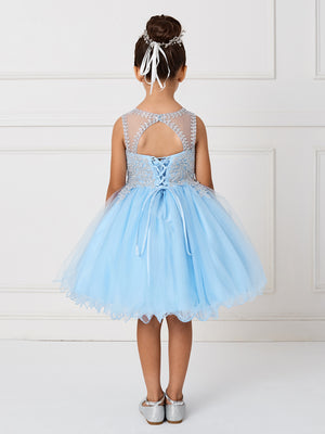 Sky Blue Short Flower Girl Dress with Gold Lace 7013sb