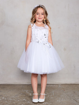 Sleeveless Short Dress with 3D flowers White Flower Girl  Dress Tip Top 7027