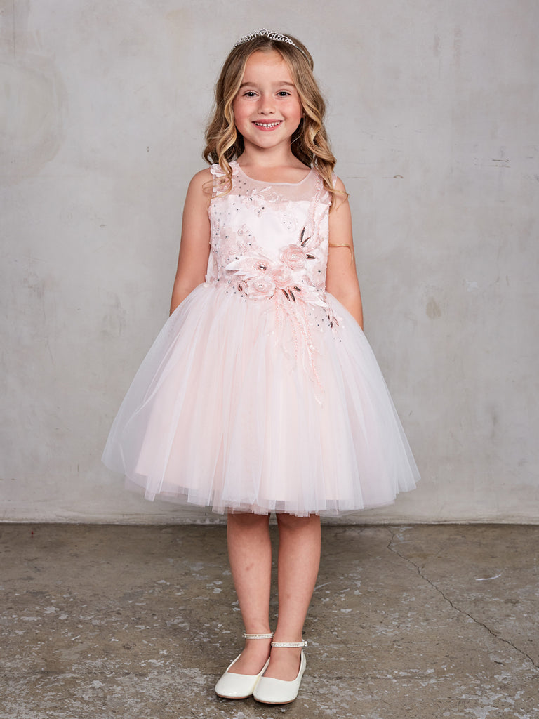 Sleeveless Short Dress with 3D flowers Flower Girl Blush  Dress Tip Top 7027