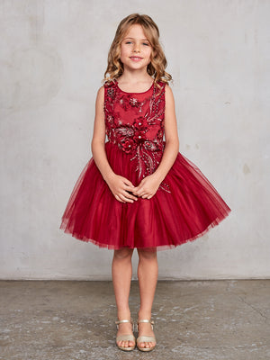 Sleeveless Short Dress with 3D flowers Burgundy Flower Girl  Dress Tip Top 7027