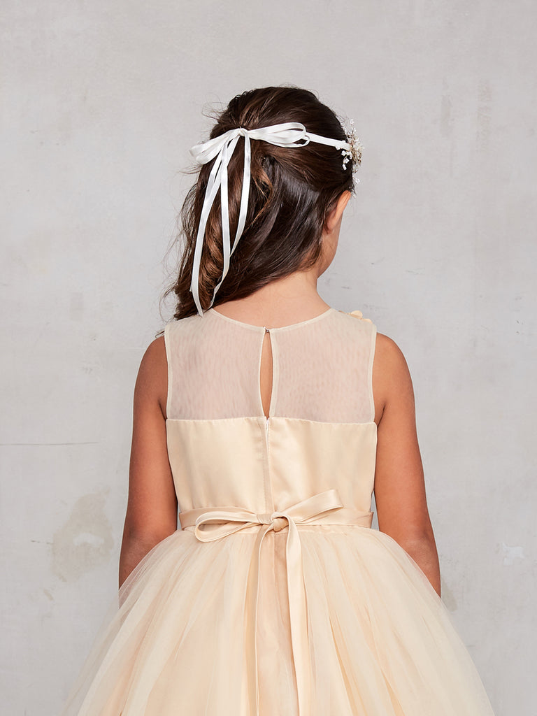 Sleeveless Short Dress with 3D flowers Flower Girl Gold  Dress Tip Top 7027