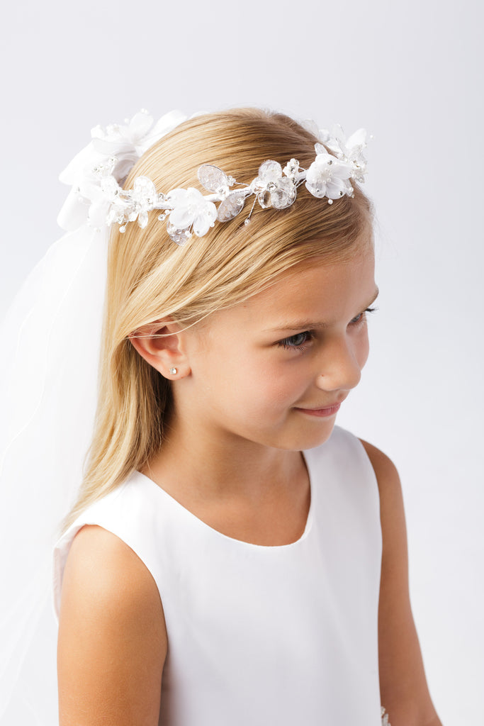 Flower Crown with veil  First Communion Flower Girl Accessories Style  780