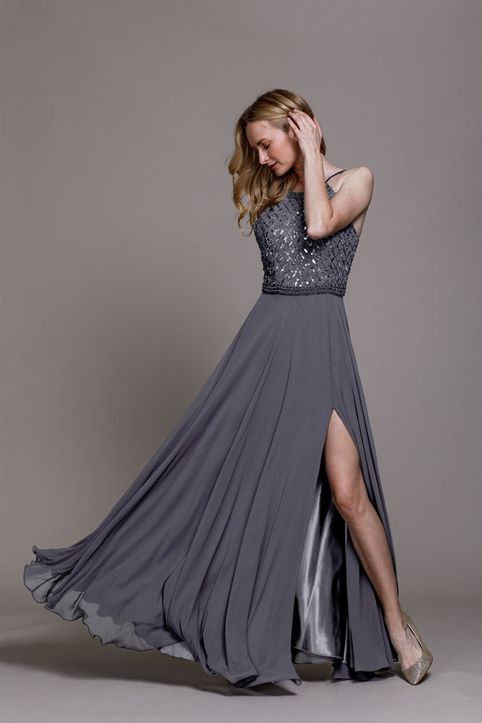 Spaghetti Strap with Slip  Sequin Bodice Evening Gown  792