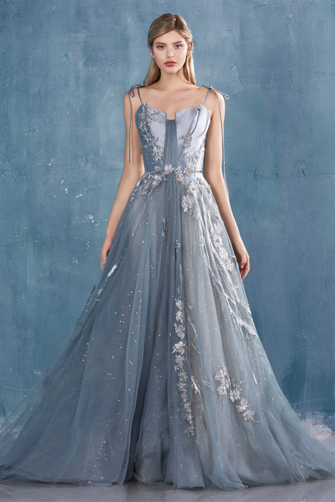 Andrea & Leo Couture A0736 Strapless Embroidered Garden Tulle Ball Gown