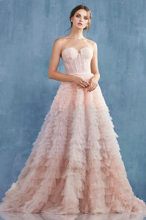 EVA Strapless Lace Corset Glass Beads  with Ruffled Skirt Blush Evening Gown Andrea & Leo A0767