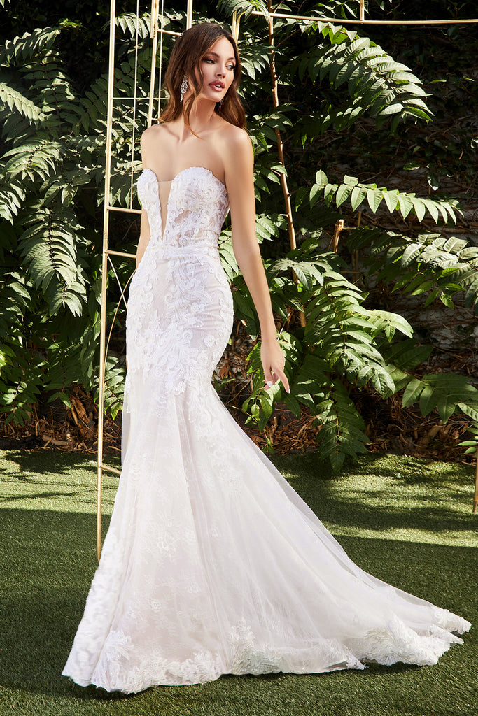 Strapless Lace  Mermaid Scalloped Train Wedding  Gown CD928