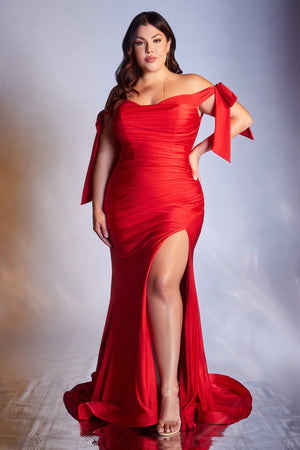 Plus sizes red evening gown