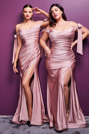 Stretch Luxe Jersey  Ruched Mauve Evening Gown CD943