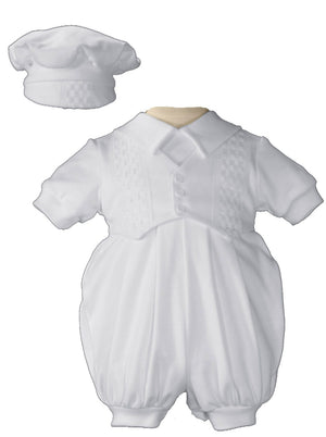 Cute Boys White Short Sleeve Celebration Christening Baptism Set with Hat