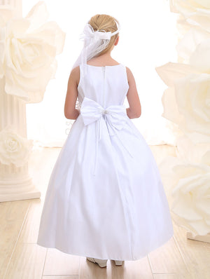 Girl's Satin White Rhinestone Belt Tea Length  Dress for Communion
