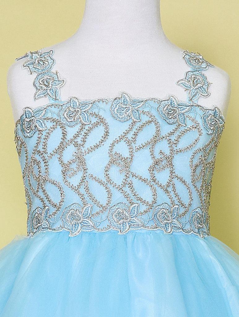 Gorgeous Beaded Top Flower Girl Graduation Birthday Dress Colors Blue and Blush Sizes 2 to 14