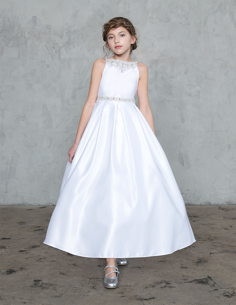 Pretty Stone Neckline and Waistband Satin Communion, Flower Girl,  Christening Girl Dress