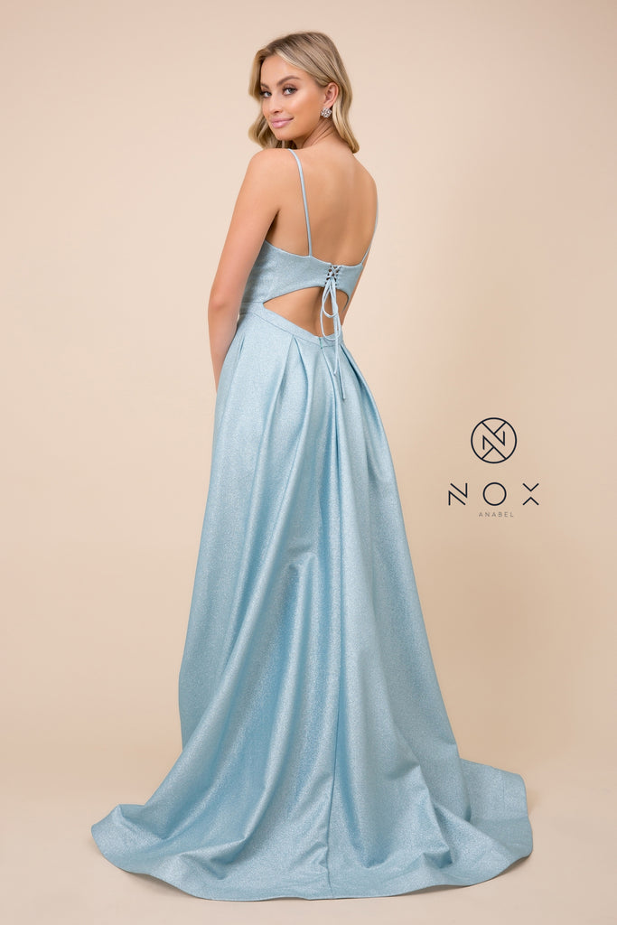 Spaghetti Straps Open Back Slit  Glitter A-line  Rose Evening Gown Nox Anabel E379