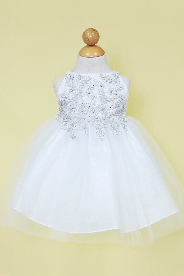 Delicate Embellished Top Tulle Skirt Baby Flower Girl, Birthday, Baby Dress