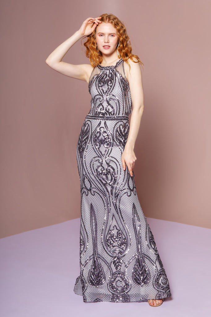 GL2627 Long Silver Sequin High Neckline Evening Dress