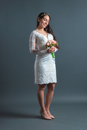 Long Sleeves V Neckline Knee-Length Civil Wedding Dress Belle