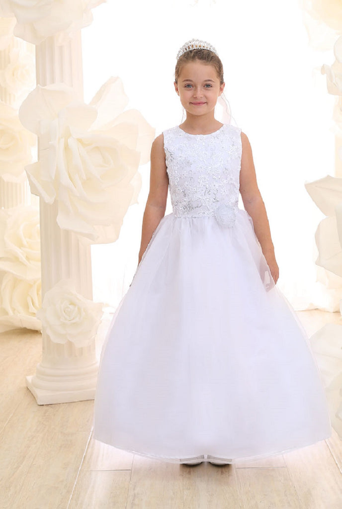 Girl's Sleeveless Jeweled Bodice Communion Dress with Organza Skirt.