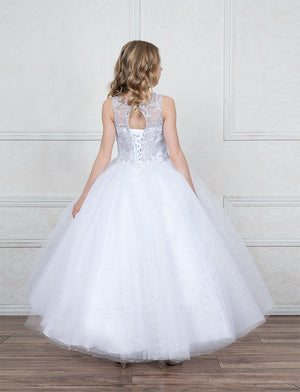 Sleeveless Glitter Tulle Ball Gown First Communion Flower Girl  KY205