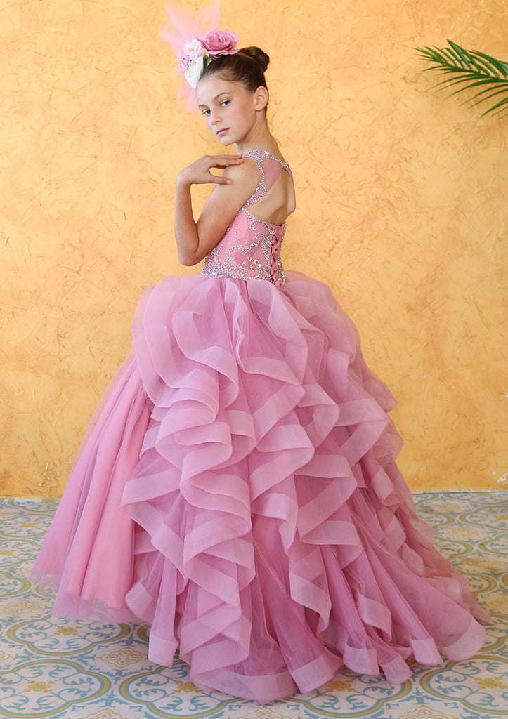 Ruffle Horsetail Trim Ball Gown First Communion KY218