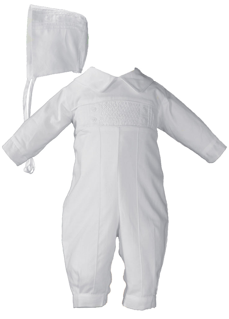Boys Long Sleeve Cotton Hand Smocked Pin Tucked Christening Baptism Outfit