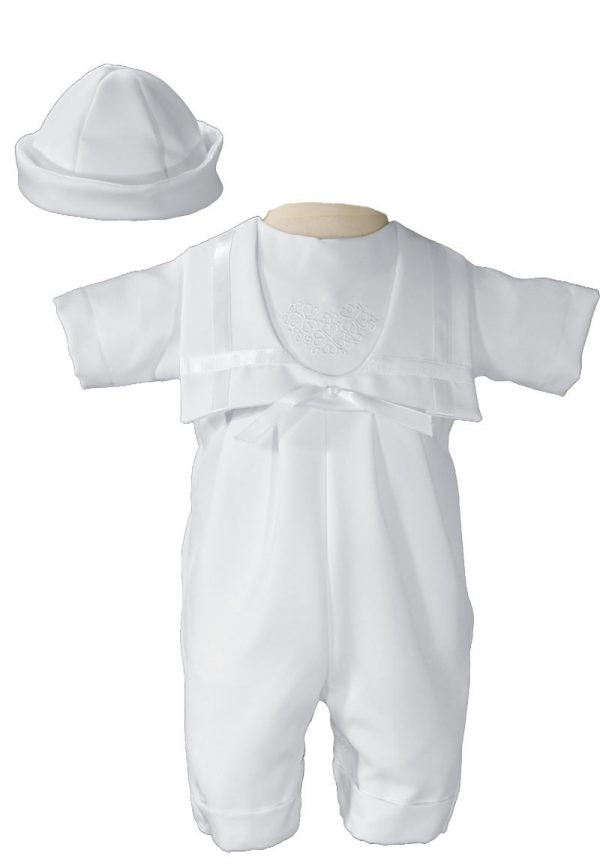 Lovely Boys White Nautical Gabardine Christening Baptism Outfit