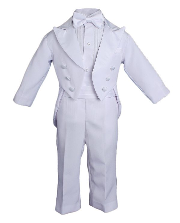 Baby Boys Formal White Poly Cotton 5 Piece Classic Tux Set with Tail Christening Baptism Boy