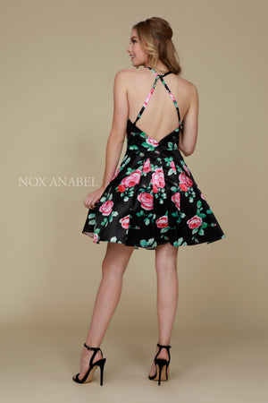 Nox Anabel Q602 Black Floral A-line Open Back Cocktail Dress