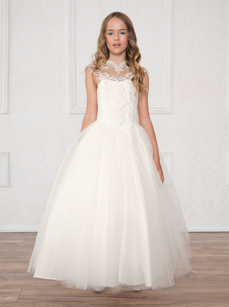 53e277a8e Beautifully Beaded Bodice and Halter Neckline with a Tulle Skirt Communion  Flower Girl Dress Sy118